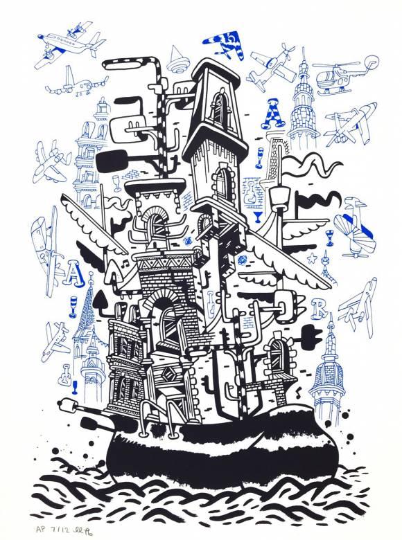 kunsttryk, silketryk, børnevenlige, grafiske, illustrative, havet, sejlads, transportmidler, sorte, blå, hvide, blæk, papir, arkitektoniske, både, bygninger, naive, fartøjer, vand, Køb original kunst af den højeste kvalitet. Malerier, tegninger, limited edition kunsttryk & plakater af dygtige kunstnere.