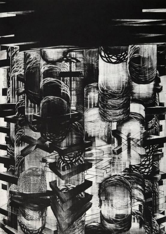 kunsttryk, engraveringer, grafiske, monokrome, arkitektur, bevægelse, mønstre, sorte, grå, hvide, blæk, papir, abstrakte-former, arkitektoniske, efterår, samtidskunst, kubisme, dansk, dekorative, design, interiør, bolig-indretning, moderne, moderne-kunst, nordisk, skandinavisk, Køb original kunst og kunstplakater. Malerier, tegninger, limited edition kunsttryk & plakater af dygtige kunstnere.