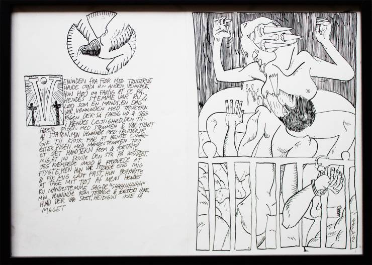 stærke og udtryksfulde kunst illustrationer og tegninger, dygtig dansk illustrator, tegner, sex, dominans, nøgne kvinder, håndjern