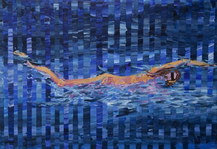 svømmer med bind for øjnene - galleri kunst malerier kunstnere blå abstrakt
