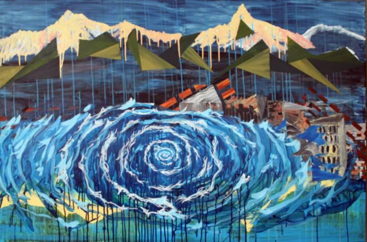 malerier, farverige, ekspressionistiske, landskab, stemninger, bevægelse, natur, årstider, blå, grønne, turkise, gule, akryl,  bomuldslærred, ekspressionisme, bjerge, naive, sceneri, levende, vand, Køb original kunst af den højeste kvalitet. Malerier, tegninger, limited edition kunsttryk & plakater af dygtige kunstnere.