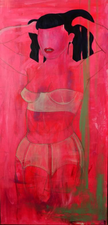 malerier, æstetiske, farverige, figurative, portræt, seksualitet, grønne, grå, pink, akryl, artliner,  bomuldslærred, københavn, dansk, dekorative, design, erotiske, kvindelig, interiør, bolig-indretning, nordisk, nøgen, skandinavisk, seksuel, former, levende, kvinder, Køb original kunst og kunstplakater. Malerier, tegninger, limited edition kunsttryk & plakater af dygtige kunstnere.