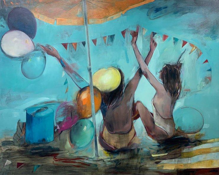 malerier, farverige, ekspressionistiske, figurative, grafiske, kroppe, stemninger, bevægelse, mennesker, blå, orange, pink, gule, akryl, kul,  bomuldslærred, olie, atmosfære, strand, smukke, lyse, samtidskunst, københavn, ekspressionisme, piger, bolig-indretning, moderne, moderne-kunst, nordisk, skandinavisk, hav, sommer, sol, rejse, kvinder, Køb original kunst og kunstplakater. Malerier, tegninger, limited edition kunsttryk & plakater af dygtige kunstnere.