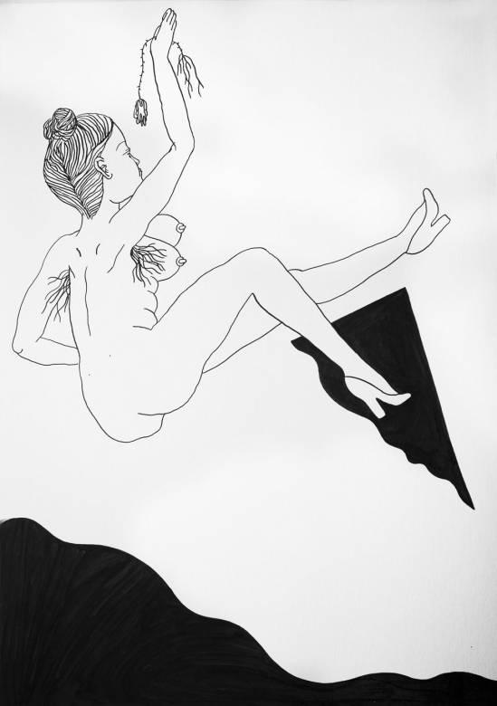 tegninger, æstetiske, figurative, monokrome, portræt, kroppe, stemninger, seksualitet, sorte, hvide, artliner, papir, sort-hvide, nøgenhed, Køb original kunst af den højeste kvalitet. Malerier, tegninger, limited edition kunsttryk & plakater af dygtige kunstnere.