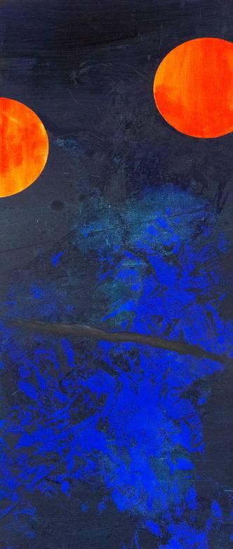malerier, abstrakte, geometriske, grafiske, mønstre, sorte, blå, orange,  bomuldslærred, olie, abstrakte-former, Køb original kunst af den højeste kvalitet. Malerier, tegninger, limited edition kunsttryk & plakater af dygtige kunstnere.