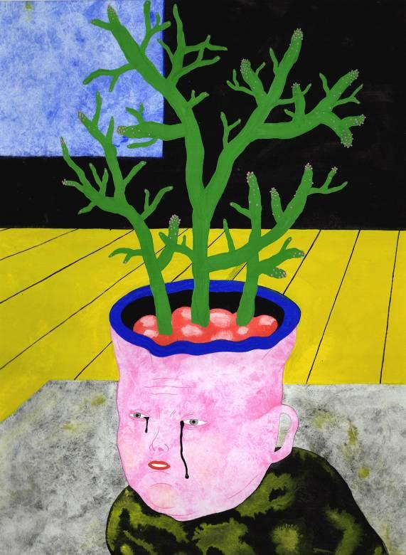 tegninger, gouache, farverige, figurative, portræt, surrealistiske, botanik, tegneserier, humor, mennesker, blå, grå, pink, gule, gouache, papir, underholdende, ansigter, blomster, planter, Køb original kunst af den højeste kvalitet. Malerier, tegninger, limited edition kunsttryk & plakater af dygtige kunstnere.