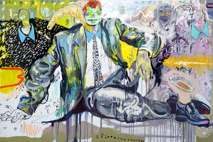 malerier, farverige, ekspressionistiske, figurative, portræt, kroppe, stemninger, mennesker, seksualitet, blå, grå, lillae, gule,  bomuldslærred, olie, abstrakte-former, ekspressionisme, mænd, levende, Køb original kunst af den højeste kvalitet. Malerier, tegninger, limited edition kunsttryk & plakater af dygtige kunstnere.