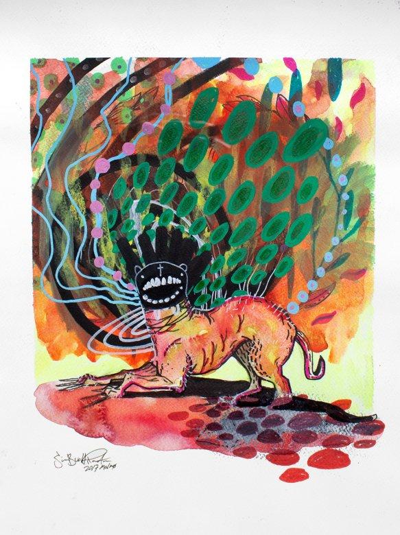 tegninger, gouache-malerier, akvarel-malerier, farverige, ekspressionistiske, grafiske, illustrative, pop, dyreliv, vilde-dyr, grønne, orange, røde, gule, akryl, blæk, papir, tusch, samtidskunst, dansk, dekorative, design, interiør, bolig-indretning, moderne, moderne-kunst, nordisk, obskurt, pop-art, plakater, skandinavisk, levende, Køb original kunst og kunstplakater. Malerier, tegninger, limited edition kunsttryk & plakater af dygtige kunstnere.