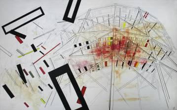 tivoli rutchebane, dekonstruktion, rød, sort, gul, Bauhaus, Wonder Wheel, Coney Island, Maleri, fragmentering, dynamik,  Maleri, akryl, sort, geometriske former,