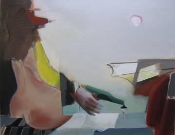 maleri akryl lærred kvinde numse mand flaske romantik solskin sommer druk stævnemøde sex marck fink