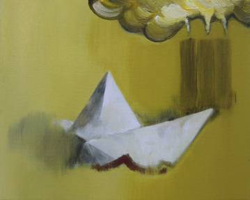 maleri akryl lærred origami papirsbåd fabrik forurening røg karrygul marck fink