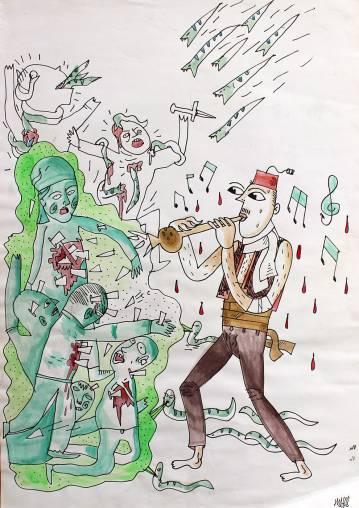 tegninger, ekspressionistiske, illustrative, portræt, botanik, tegneserier, bevægelse, sorte, brune, grønne, artliner, papir, tusch, død, sceneri, Køb original kunst og kunstplakater. Malerier, tegninger, limited edition kunsttryk & plakater af dygtige kunstnere.