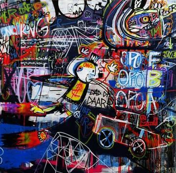 stort abstrakt maleri med kraftige farver, maleri, online kunst galleri