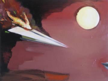 maleri akryl lærred origami papirsflyver rød eksplosion ekspressivt drama sol flammer ikaros drøm airplane marck fink