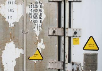 Fotografi af container digital collage på væg, digital print, Indrammet digital collage Indreammet fotografi, kunstfoto, kunstfotografi, fragmentering, dynamik, strukturer og historie. facebook, google, pinterest