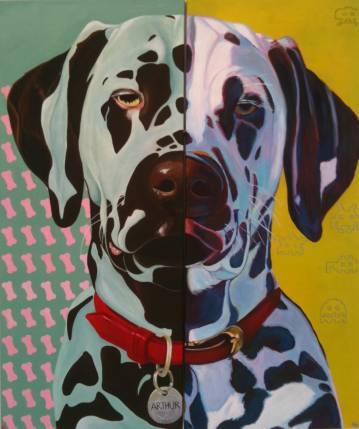 Dog, Hund, pop-art, kraftige farver, gul, online kunst