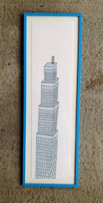 Arkitektur, New York, By, Illustration, Farve, Himmelblå, Skyskraber, Dubai, High-Rise, Lush, Pastel, blå, Fabriano, Hip, Windows, detaljer, Patience