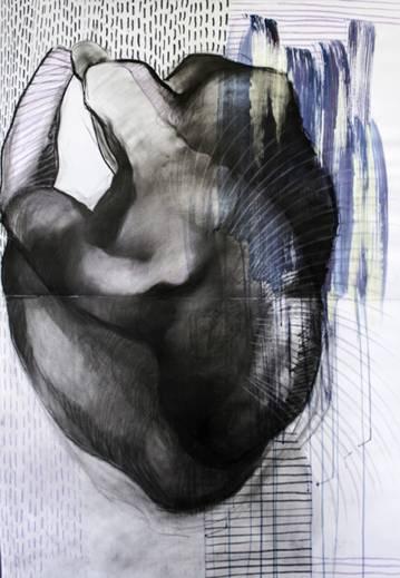 tegninger, abstrakte, æstetiske, figurative, portræt, kroppe, seksualitet, sorte, blå, hvide, akryl, kul, papir, abstrakte-former, nøgenhed, Køb original kunst af den højeste kvalitet. Malerier, tegninger, limited edition kunsttryk & plakater af dygtige kunstnere.