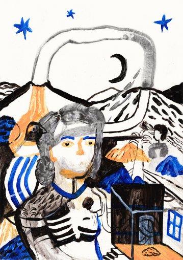 plakater-posters-kunsttryk, giclee-tryk, figurative, portræt, surrealistiske, mennesker, sorte, blå, orange, hvide, akryl, akvarel, træ, andre-medier, abstrakte-former, samtidskunst, københavn, dekorative, ansigter, kvindelig, interiør, bolig-indretning, moderne, moderne-kunst, nordisk, plakater, skandinavisk, træer, kvinder, Køb original kunst og kunstplakater. Malerier, tegninger, limited edition kunsttryk & plakater af dygtige kunstnere.
