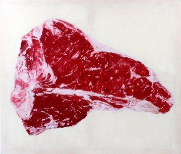 Stort abstrakt maleri med kraftige farver, minimalistisk og råt udtryk, online kunst galleri