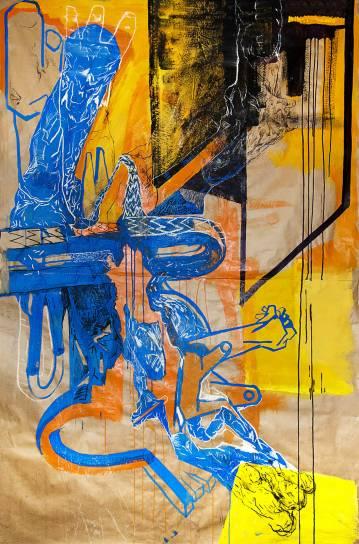 malerier, farverige, ekspressionistiske, surrealistiske, stemninger, bevægelse, sorte, blå, brune, hvide, akryl, kul, kridt, blæk, papir, olie, abstrakte-former, ekspressionisme, Køb original kunst af den højeste kvalitet. Malerier, tegninger, limited edition kunsttryk & plakater af dygtige kunstnere.