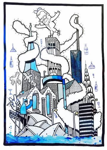 plakater-posters-kunsttryk, giclee-tryk, geometriske, pop, arkitektur, humor, sorte, blå, hvide, blæk, papir, abstrakte-former, sjove, arkitektoniske, bygninger, street-art, Køb original kunst og kunstplakater. Malerier, tegninger, limited edition kunsttryk & plakater af dygtige kunstnere.