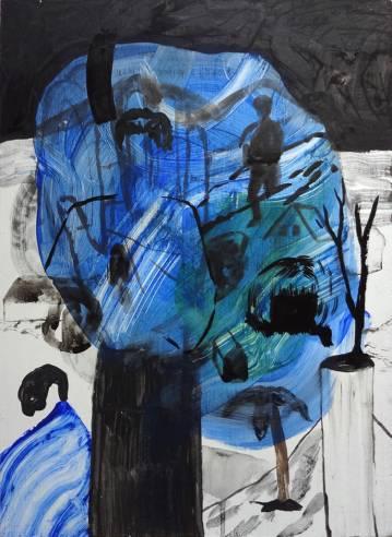 abstrakt maleri med blålige farver, online kunst galleri