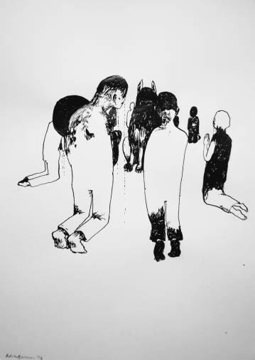 tegninger, illustrative, monokrome, mennesker, kæledyr, religion, sorte, hvide, papir, tusch, sort-hvide, mænd, Køb original kunst og kunstplakater. Malerier, tegninger, limited edition kunsttryk & plakater af dygtige kunstnere.