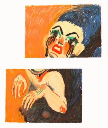 tegninger, farverige, ekspressionistiske, illustrative, portræt, kroppe, stemninger, beige, blå, brune, gule, papir, olie, fantasi, kvindelig, natteliv, levende, Køb original kunst og kunstplakater. Malerier, tegninger, limited edition kunsttryk & plakater af dygtige kunstnere.