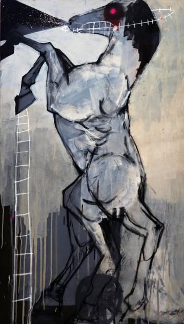 malerier, dyr, figurative, husdyr, kæledyr, beige, sorte, grå, akryl,  bomuldslærred, spraymaling, heste, Køb original kunst af den højeste kvalitet. Malerier, tegninger, limited edition kunsttryk & plakater af dygtige kunstnere.
