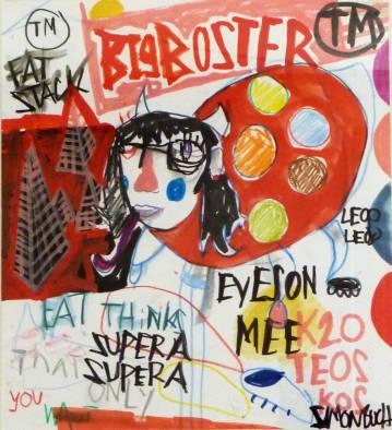 illustrationer. streetart. grafitti farverig og udtryksfuldt moderne kunst. talentfulde kunstnere, online kunstgalleri. Sean Punk. mixed media på lærred af spray, kridt, akryl og stencil.