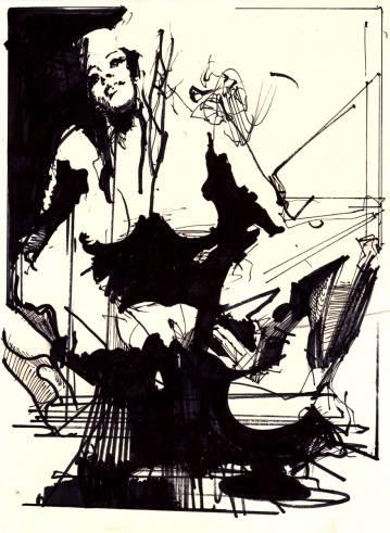 klassisk tegning med kvinde, graffiti, abstrakt kunst
