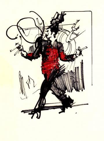 tegning af mand, rød jakke, soldat, kunst, online galleri, illustrationer af dygtige kunstnere på nettet