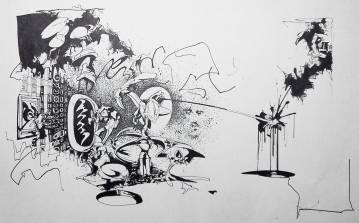 smuk kunst, grafiske tegninger, arkitektur, graffiti, street art, abstrakte illustrationer, abstrakt, dygtige kunstnere, det kongelige kunstakademi