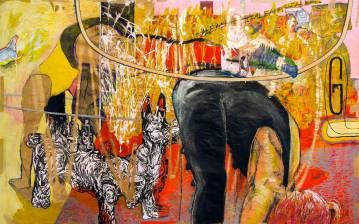store malerier, oliemalerier, tegninger, mixed media, gustav klimt, Picasso, Paolo Uccello, dog sniffing butt, laver gymnastik, gallerier