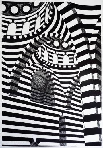 kunsttryk, linoleumstryk, engraveringer, æstetiske, geometriske, grafiske, monokrome, arkitektur, mønstre, sorte, hvide, blæk, papir, arkitektoniske, smukke, bygninger, samtidskunst, kubisme, design, interiør, bolig-indretning, moderne, moderne-kunst, nordisk, skandinavisk, Køb original kunst og kunstplakater. Malerier, tegninger, limited edition kunsttryk & plakater af dygtige kunstnere.