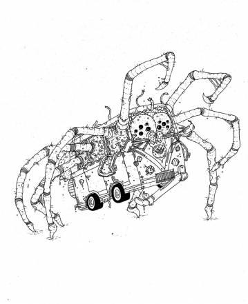 edderkop, bus, illustrationer og tegninger, kunst, kunstgalleri, galleri, sjov tegning, street art, pop kultur, inspiration,