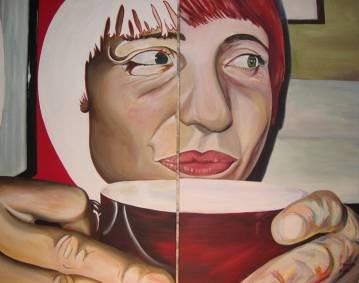 Maleri til salg, kvinde med en kob, farver, rød, lysegrøn, hvid, pop art, kultur, kunst