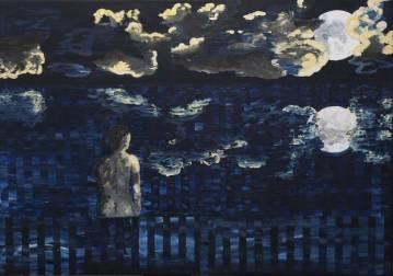 galleri kunst - blå flot maleri bedste danske kunstnere fuldmåne nat hav