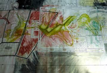 Maleri til salg sort rød hvid gul. Brug moderne kunst til indretning af dit smukke hjem - boligindretning