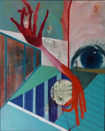 Maleri til salg kraftige farver turkis rød blå store og flotte malerier, talentfulde kunstnere, moderne online kunst galleri
