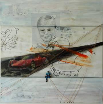 Maleri til salg mix media, fotografi, legetøj kunst, online kunstgalleri, malerier