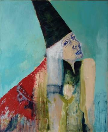 Maleri til salg selvportræt kraftige farver sort rød turkis