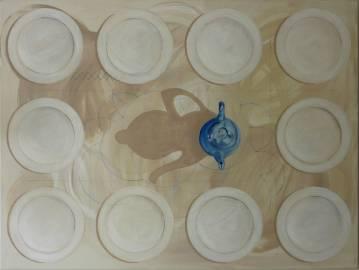 Maleri til salg lyse farver beige hvid blå - Moderne kunst galleri, bedste online kunst, malerier, boligindretning