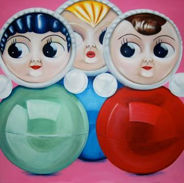 malerier, Maleri, dukker, turkis, blå, rød, online gallerier, kunst, pop art, surrealistiske malerier, figurativ talentfulde kunstnere