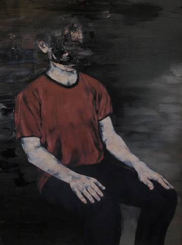 portræt af man siddende i en stol, farver rød sort