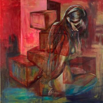 kvinde nøgen maleri fjernsyn gul mørkeblå, ged Malerier, pop art, rød blå grøn sort hvid pink neon, indretning bolig, boligindretning, hjorte, ged, blomster, skov, natur, vand brun grå