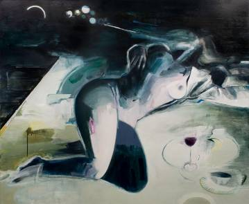 Between breathing and wine. 170x140 cm. Et maleri af Marck Fink