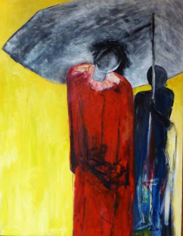 Kunst, Abstrakt maleri, kraftige farver rød, gul, grå, blå, fantastiske og talentfulde kunstnere, online kunstgalleri