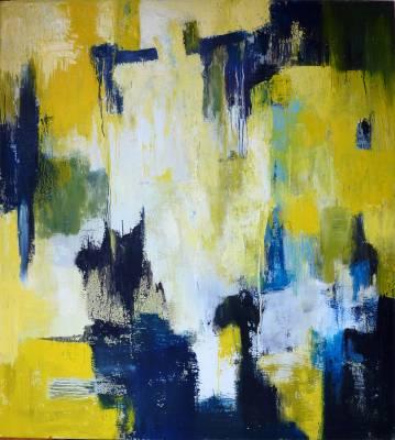 Stort abstrakt maleri kraftige farver gul, blå, hvid, moderne malerier, indretning